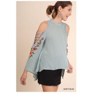 Embroidered Crisscross Cold Shoulder Blouse Blue